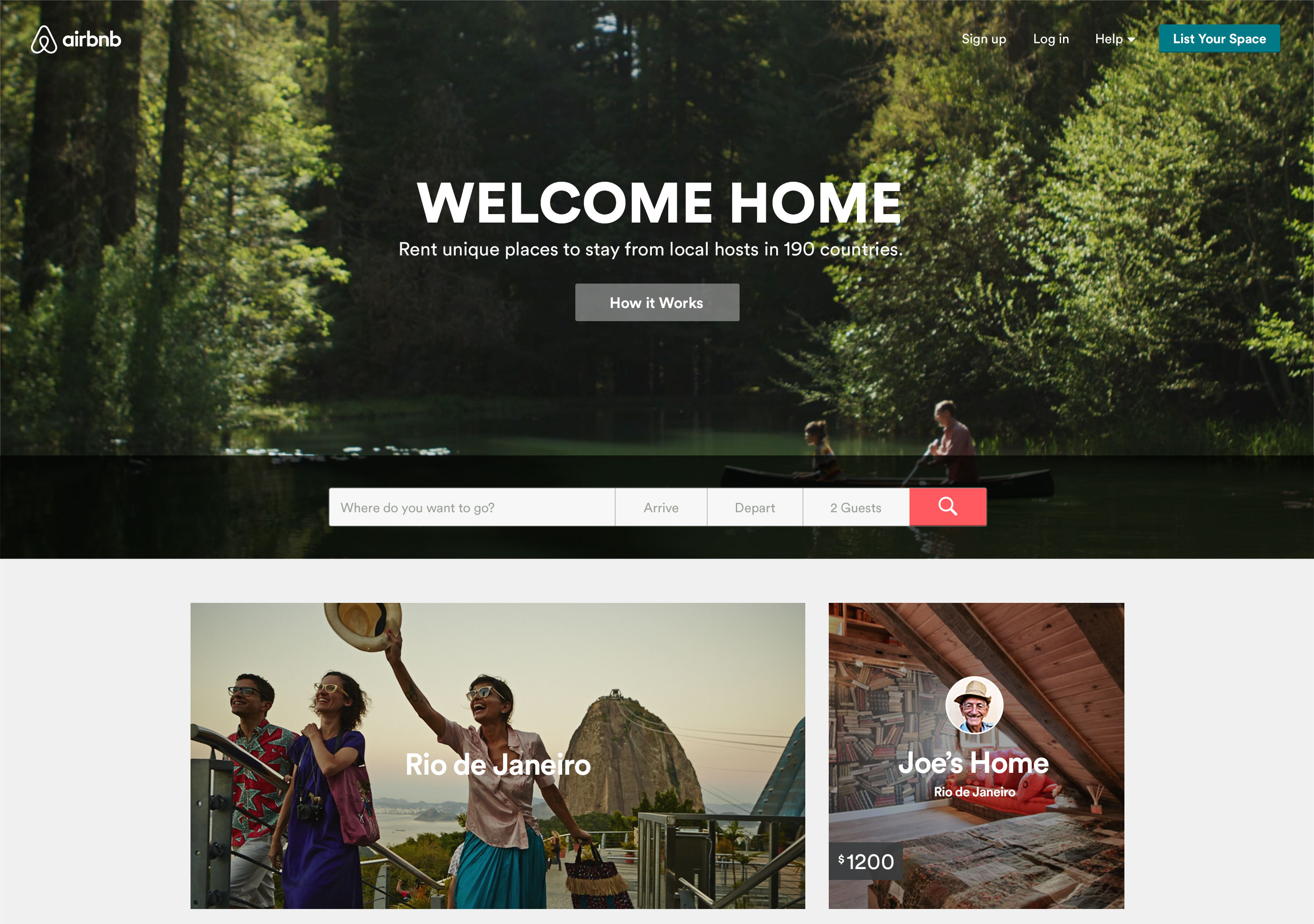 Homepage di Airbnb