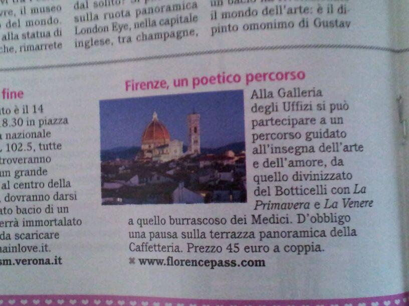 Il tour di San Valentino di Florencepass sul numero 6/2013 di Confidenze, storico settimanale della Mondadori