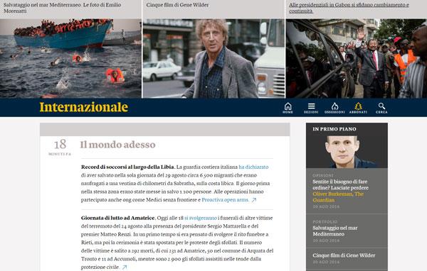 La homepage del sito di Internazionale