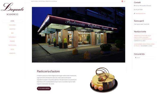 La pagina iniziale del sito della Pasticceria Laquale