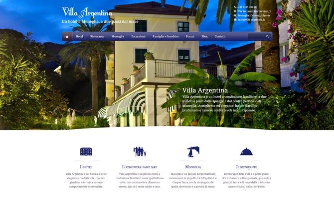 La pagina iniziale del sito di Villa Argentina